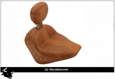 SOLO SEAT DRIVER BROWN VINYL WITH NICKEL STUDS AND DRIVER BACKREST INDIAN
