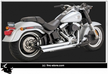 "AUSPUFFANLAGE V&H BIG SHOT LONG ""THOR I"" 2 1/2 ZOLL CHROM / SOFTAIL SLIM BJ 17 MIT EG-ABE EURO 4"